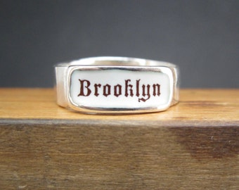 Brooklyn Band Ring - Sterling Silver and Vitreous Enamel Brooklyn Ring