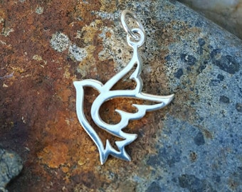 Peace Dove Charm Sterling Silver - Dove Necklace