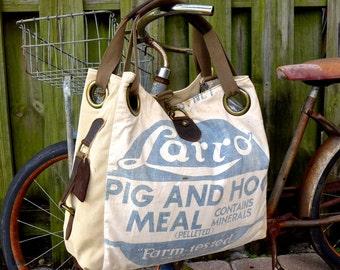 Larro Pig and Hog Meal  - Open Tote - Americana OOAK Canvas & Leather Tote... Selina Vaughan Studios
