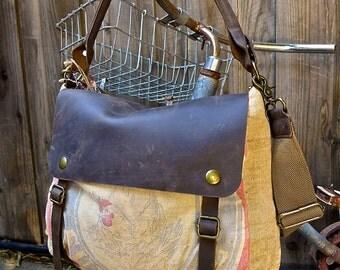 Hubbards Sunshine Feed - Minnesota - Vintage Seed Sack Leather Satchel Bag - Americana Leather Canvas & Leather Bag... Selina Vaughans