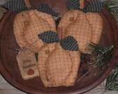 3 Primitive Rustic Halloween Pumpkins Jack O Lanterns Orange Autumn Fall Seasonal Ornies Ornaments Bowl Fillers Tucks