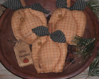 3 Primitive Rustic Halloween Pumpkins Jack O Lanterns Orange Autumn Fall Seasonal Ornies Ornaments Bowl Fillers Tucks