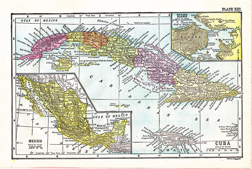 It is an image of Vibrant Printable Map of Cuba