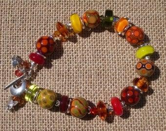 Maple-Handmade Lampwork and Sterling Silver Bracelet