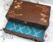 Upcycled Wood Decoupage Birds Vintage Jewelry Box