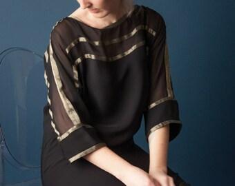DIANE VON FURSTENBERG silk black tent dress / boat neck lbd / little black mini dress / s / 1733d