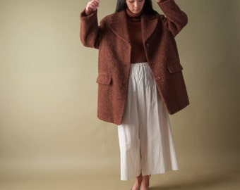 BENETTON brown boucle wool coat / mini car coat / winter coat / s / m / 1069o