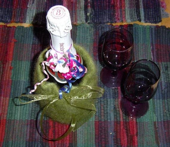 ON SALE Bronze Champagne Bottle Cozy ~ Felted Wool Green Handmade