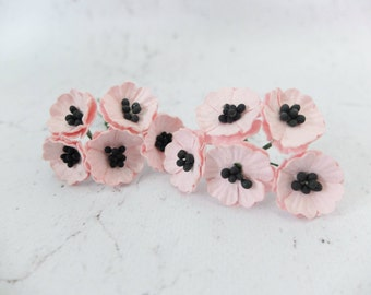 10 Mulberry poppy - salmon pink - 2 cm paper flowers