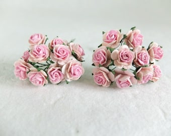 20 Mulberry pink two tones roses (15mm)