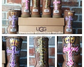 Custom hand Painting on your UGG boots with bLiNg Zebra print Cross Crown and initials this is the DESIGN FEE