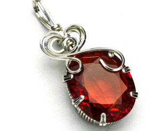 Padparadscha  Oval CZ Swirls and Curls Silver Filled Prong Setting Pendant