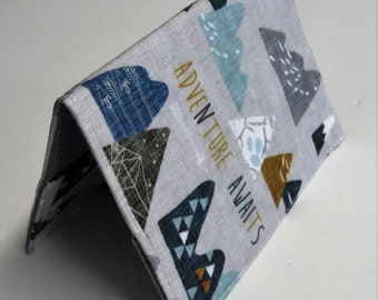Passport Cover Case Holder Holiday Cruise Honeymoon - Adventure Awaits - Multi Color Mountains Peaks on Gray Fabric