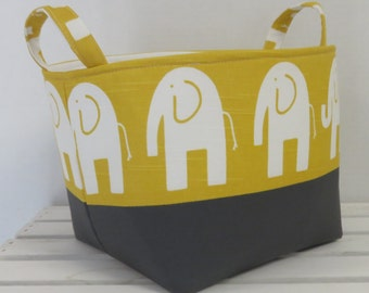 Fabric Organizer Bin Toy Storage Container Basket Nursery Decor - White Ele Elephant on Yellow Fabric with Slate Gray Fabric  - 8 x 8 x 8