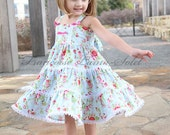 Blue birthday twirl dress, Country flower girl dress, shabby blue dress, chic tea party dress, romantic floral dress, Easter lace dress