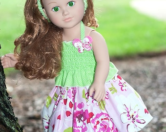"""Girl 18"""" doll clothes, doll pink skirt, green halter top, doll spring outfit, doll headband, floral set, pleated skirt, american made dress"""