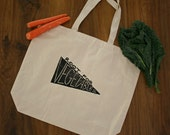 """root for vegetables - hand block printed 100% recycled cotton heavy duty market tote bag - 19""""x16"""""""
