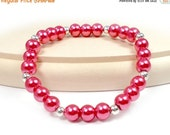 Last Chance 30% Off - RED TAG CLEARANCE - Plus Size Stretch Bracelet, Raspberry, Glass Pearl Bracelet