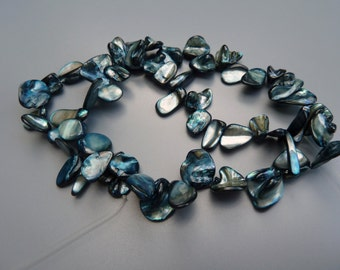 Mother of Pearl Shell Beads, MOP Shell Beads, MOP Petal Beads,Teal MOP Beads, Blue Shell Beads, Blue Mother Of Pearl Beads, Teal Shell Beads