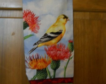 MadieBs Yellow Bird Sitting on a Pink Thistle Plastic Bag Holder Dispenser