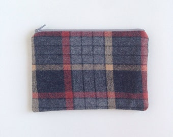 Plaid zip pouch