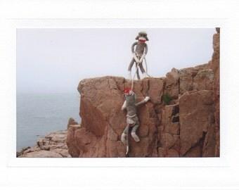 Sock Monkey Rock Climbers