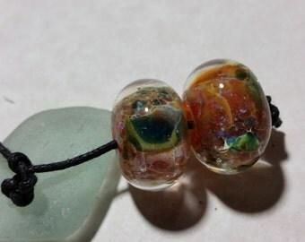 Lampwork Borosilicate Beads PAIR Two Sisters Designs 102416E