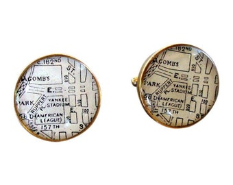 Yankee Stadium Cufflinks Antique Maps  Baseball Fan Destination: New York Golden Bronze  Father's Day Free US Shipping Gift for Dad