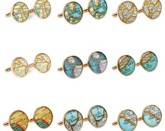 Map Cufflinks Mix & Match Golden Bronze 14 Vintage Atlas Cities including New York, Paris and Rome You save 10.00  Free Shipping Dad Groom