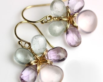 Flower Earrings Rose Quartz Amethyst Aquamarine Gold Fill