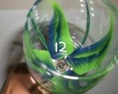 Wine glass/goblet Handpainted,  Seattle Seahawks!!!! 12th Man
