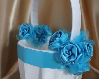SALE-Ivory or White Flower Girl Basket with Turquoise Ribbon and Turquoise Satin Flowers