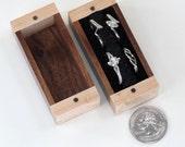 Walnut, Birdseye Maple Ring Box, One Ring Box, Two Ring Box, Four Ring Box