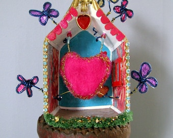 Shadow Box Shrine Mixed Media Altered Art Original Handmade OOAK Upcycled Recycled Home is Where the Heart is Collectible Home Decor