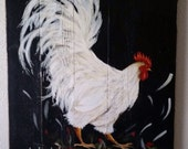"""27.5"""" x 37"""" Chicken Coop Signs White Rooster original art on Rustic Wood"""