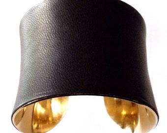 Black Lambskin Leather Gold Lined Cuff Bracelet  - by UNEARTHED