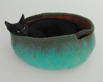 Pet / Dog / Cat Bed / Cave / House / Vessel - Hand Felted Wool - Teal Orange - Crisp Contemporary Design