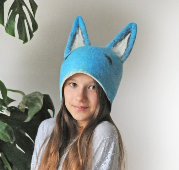 Blue Fox Animal Hat with Ears / Hand Felted Wool - Unisex / Sizes for Toddler, Kid, Adult