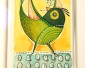 ORIGINAL ACEO, green bird, Artist trading cards, ATC whimsical watercolor pen and ink by cori dantini