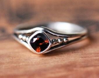 Sterling silver garnet ring, birthday gift, January birthstone ring, bezel gemstone ring, organic unique ring, ready to ship size 8