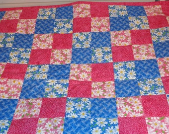 Pink and Blue with Daisies Patchwork Handmade Doll Quilt