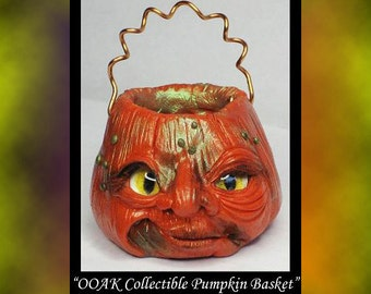 Fantasy Collectible Pumpkin Basket DollHouse Art Doll Polymer Clay OOAK sculpt