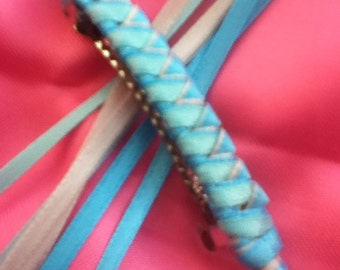 Braided Ribbon Barrette / Turquiose, Light Teal and Light Blue Icy Frozen Style
