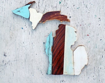 Wooden Michigan Wall Art, State Outline, Wooden Wall Decor, Detroit Decor, Wood Michigan Art, Salvaged Wood Art, Wood State Mosaic