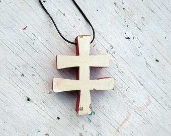 Cream Slovak Cross, Salvaged Wood Cross , Wooden Wall Cross, Religious Decor, Cross Ornament, Reclaimed Wood Cross, Rustic cross