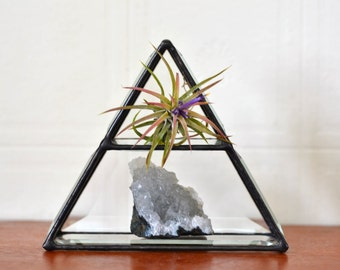 Stained Glass Pyramid Crystal Display Shelf.Air Plant Holder.Geometric Jewelry Storage.Air Element Glass Display.Glass Jewelry Display Shelf