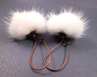 White Fur Earrings, REAL Mink and Copper, Long Dangle Earrings, FREE Shipping U.S.