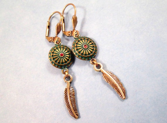 Brass Feather Earrings, Teal Patina and Pink Rhinestone Pendants, Brass Dangle Earrings, FREE U.S.Shipping