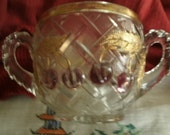 Antique - Early American - Northwood - Pressed Glass - Large Sugar Bowl - Cherries - Gold - More Northwood Listed!