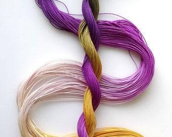 "Size 40 ""Fig"" hand dyed thread 6 cord cordonnet tatting crochet cotton"
